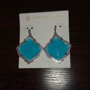 NWOT Kristen silver drop earrings in aqua